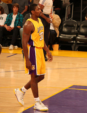 2010 NBA Finals - Lakers forward Ron Artest (now Metta World Peace) made a critical three-point field goal late in the fourth quarter to give the Lakers a six-point lead.