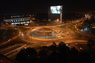 Spodek - Spodek and Katowice centrum at night