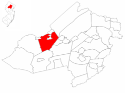 Roxbury Township highlighted in Morris County. Inset map: Morris County highlighted in the State of New Jersey.
