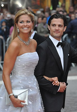 Duchies in Sweden - Princess Madeleine, Duchess of Hälsingland and Gästrikland, with her brother Prince Carl Philip, Duke of Värmland, in 2010.