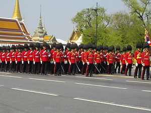 King's Guard (Thailand) - Image: Royal guards from 1st Infantry Regiment in the Royal Funeral Procession of Princess Bejaratana Rajasuda