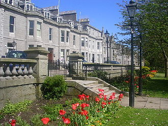 Rubislaw, Aberdeen - View of Granite houses on Rubislaw Terrace, from Rubislaw Terrace Gardens