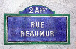 René Antoine Ferchault de Réaumur - Street sign in Paris celebrating Réaumur
