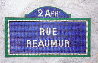 René Antoine Ferchault de Réaumur - Street sign in Paris celebrating Réaumur