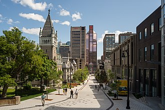 Architecture of Montreal - View of Montreal from McTavish Street. The architecture of Montreal is characterized by a wide variety of architectural styles.