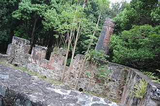 Sugar production in the Danish West Indies - The ruined remains of a sugar mill in the US Virgin Islands