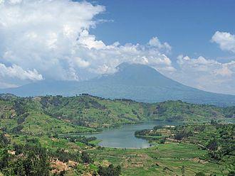 Wildlife of Rwanda - Image: Rwanda Volcano And Lake cropped