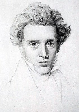 Soren Kierkegaard, considered to be the first existential philosopher Soren Kierkegaard (1813-1855) - (cropped).jpg