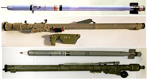 Man-portable air-defense system - An SA-18 (Igla) missile with launch tube and grip stick (top) and an SA-16 (Igla-1) missile and launch tube (bottom)