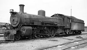 South African Class 10 4-6-2 - SAR no. 738 (ex CSAR no. 656) at Sydenham Loco depot, 4 September 1966
