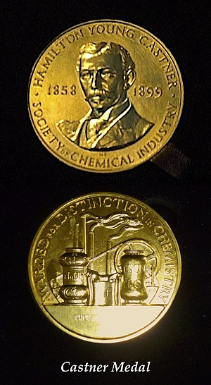 Castner Medal - Castner Gold Medal awarded by the Society of Chemical Industry to authorities in the field of Industrial Electrochemistry.
