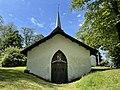 SEM KIRKE (Medieval church c. 1100) nær Jarlsberg hovedgård i Tønsberg, Norway Wedelske gravkapell Familien Wedel-Jarlsbergs gravkammer (Grave chapel crypt) Dør Slektsvåpen 1684 Solfylt sommerdag 2021-06-13 IMG 3777.jpg