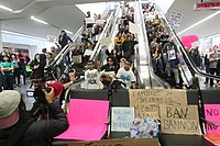 Protesters at San Francisco International Airport, 2017