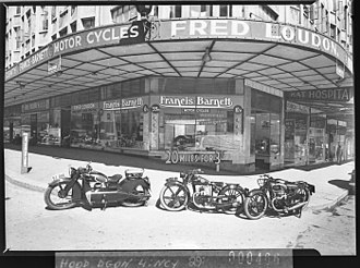 Francis-Barnett - SLNSW 11535 Fred Loudons motorcycle shop with FrancisBarnett motorcycles corner Elizabeth and Goulburn Street