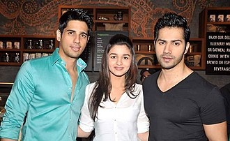 Alia Bhatt - Alia Bhatt with Sidharth Malhotra (left) and Varun Dhawan (right) promoting Student of the Year in 2012