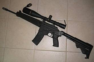 Kel-Tec SU-16 - SU-16CA, with added pistol grip, collapsible stock, telescopic sight, and flash hider