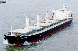 Bulk carrier merchant ship specially designed to transport unpackaged bulk cargo