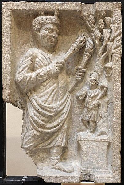 File:Sacerdote che sacrifica ad attys (archigallo), III sec, dalla necropoli di porta all'isola sacra.JPG