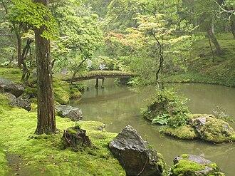 Saihō-ji (Kyoto) - Golden Pond, in the center of the moss garden.