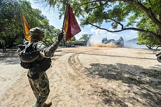 Naval and Maritime Academy - United States Marine Corps landing craft air cushion onto the Naval and Maritime Academy beach during a theater security cooperation exchange with the Sri Lanka Navy