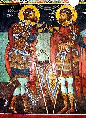 Theodore the Martyr - Saints Theodore of Amasea and Theodore Stratelates in a fresco from Kremikocvtsi Monastery, near Sofia, Bulgaria