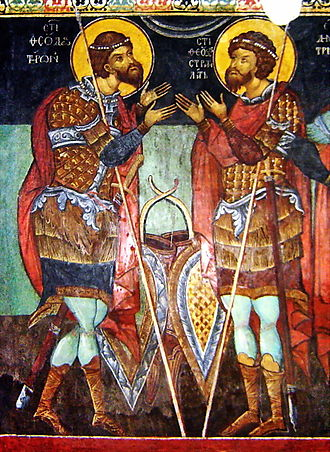 Theodore the Martyr - Saints Theodore of Amasea and Theodore Stratelates in a fresco from Kremikocvtsi Monastery, near Sofia, Bulgaria