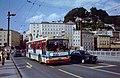 Salzburg two-axle Gräf & Stift trolleybus 119 on the Staatsbrücke in 1980.jpg