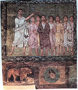 Samuel anoints David, Dura Europos, Syria, Dat...