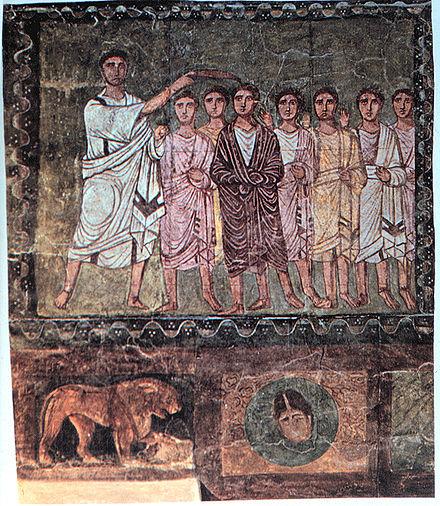 サムエルに油を注文するダビデ。3世紀、ドゥーラ・ユーロポスの壁画