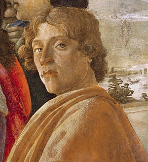 Portrait of a Man with a Medal of Cosimo the Elder - Detail, Adoration of the Magi, Botticelli.