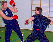 Sanshou practitioners fighting.