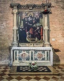 Santa Giustina (Padua) - Corridor of the Martyrs - Altar with the discovery of the well of martyrs by Pietro Damini 202 x 152 cm