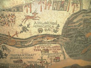 Madaba Map - Place of John the Baptist's baptism at the mouth of the Jordan and (near-obliterated) lion hunting a gazelle