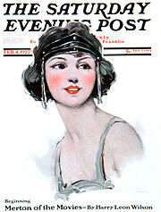 A sketch of a flapper on the cover of an issue of the Saturday Evening Post