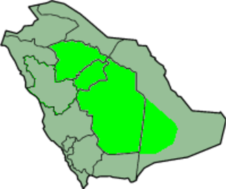 Najd - Najd superimposed over the modern political divisions of Saudi Arabia