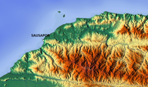 Sausapor - Relief map of the area
