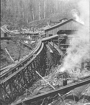 Log flume - A sawmill with log flume, Cascade Mountains, USA.