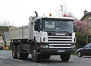 A heavy Scania dump truck in France