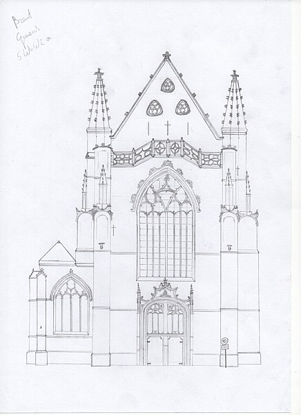 Drawing of the outside view of the Saint Martin's Church in Aalst, Belgium (seen from the Pontstraat).