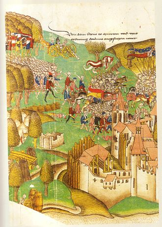 Battle of Morat - Illustration from the Zürcher Schilling, 1480/84