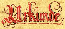 Каллиграфическая надпись немецкого слова «Urkunde» (свидетельство)