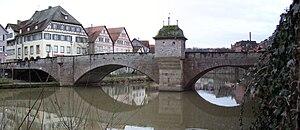Kocher - The Henkersbrücke spans the Kocher at Schwäbisch Hall