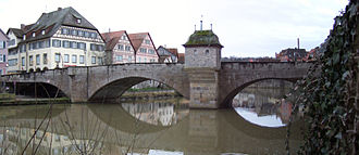 Kocher - The Henkersbrücke spans the Kocher at Schwäbisch Hall