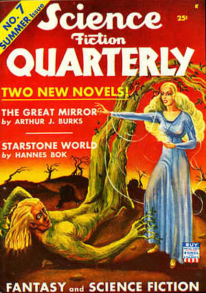 "Hannes Bok - Bok's ""complete novel"" Starstone World was the cover story for the Summer 1942 issue of Science Fiction Quarterly. Starstone World has never been published in book form; it is believed that magazine text was cut for publication, and Bok's full-length manuscript has been lost."