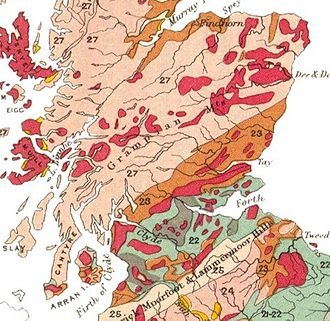 Geology of Scotland - An early geological map of Central Scotland