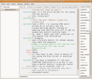Screenshot of XChat running on Ubuntu