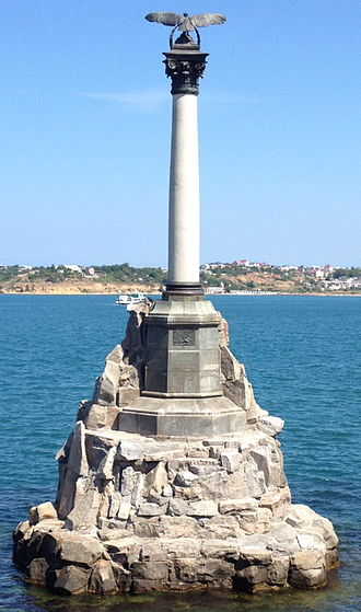 Scuttling - Monument to the scuttled ships by Amandus Adamson at Sevastopol. The Russian Black Sea Fleet was scuttled prior to the Siege of Sevastopol during the Crimean War.