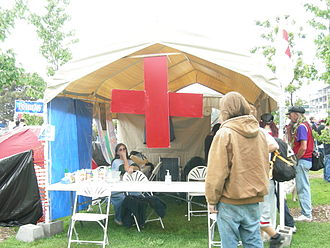 Aid station - An aid station at a public festival.