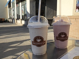 Second Cup - A Raspberry Tea Chiller and White Chocolate Chiller at Second Cup.