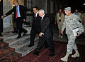 Secretary of Defense Robert M. Gates, center right, walks into the Presidential Palace in Kabul, Afghanistan, with U.S. Army Gen. David Petraeus, right, commander of International Security Assistance Force 100902-F-DQ383-007.jpg